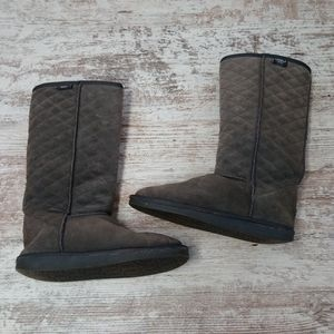 Emu Wool Tall Gray Cozy Patterned Winter Boots